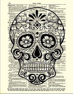 Sugar Skull with Flowers, Day of the Dead, Halloween Decor, Dictionary Art Print, Wall Decor, Wall Art via Etsy