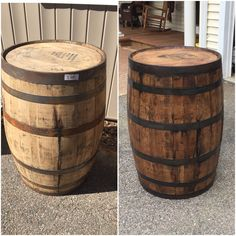 this was a fairly easy transformation this is an authentic jim beam whiskey barrel that authentic jim beam whiskey barrel table
