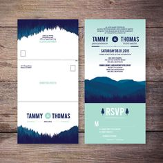 Seal and Send Wedding Invite, Blue, Mint, Mountain, Forest, Send N' Seal Wedding Invitation, All in one invitation, Very Economical