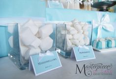 Tiffany & Co inspired baby shower dessert/sweet table.  Tiffany and Co Party Ideas. Custom candy labels, sweets and picture by Masterpiece Of Cake.