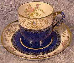 Spode REGENT Y3963 BLUE DEMITASSE CUP & SAUCER (