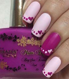 Easy Valentines Nails by Yagala - Nail Art Gallery nailartgallery. by Nails. Cute Nail Art, Easy Nail Art, Cute Nails, Pretty Nails, Fancy Nails, Diy Nails, Neon Nails, Do It Yourself Nails, Valentine Nail Art