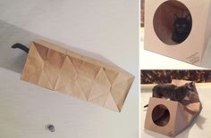 Here's another one of those Ah Ha! products, brilliant in every way! It's the Hide & Sneak Paper Bag Cat Tunnel from Dezi & Roo, an expandable brown craft paper cat tunnel that will provide hours of entertainment and enrichment for your cat -- at a very affordable price! The Hide & Sneak foods flat…