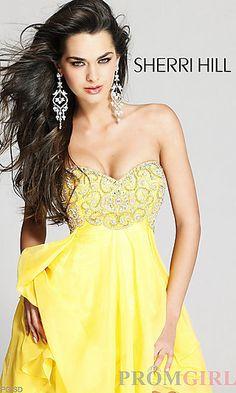 Short Sherri Hill Strapless Sweetheart Dress at PromGirl.com