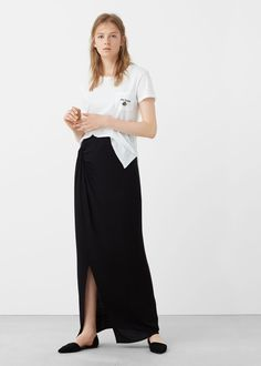 Falda cintura fruncida   MANGO