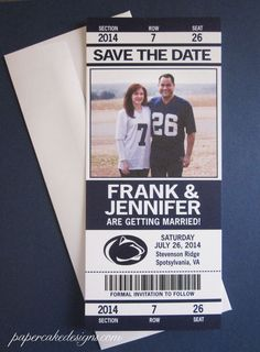 you know since you are getting married during a basketball game ( yes I know this is football but it could easy be changed. sports save the dates, baseball save the dates #wedding #sports