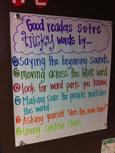 """Good readers solve tricky words by."" 6 strategies from A Literate Life - Anchor Charts Change it to just ""readers solve tricky words by."" instead of ""good readers"" and you've got yourself a deal Reading Lessons, Reading Skills, Teaching Reading, Guided Reading, Teaching Ideas, Reading Resources, Teaching Outfits, Shared Reading, Reading Centers"