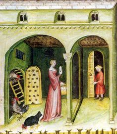 Poultry Keeping. Tacuinum sanitatis,14th Century. Vienna Austrian National Library, northern Italy in 1390, folio.