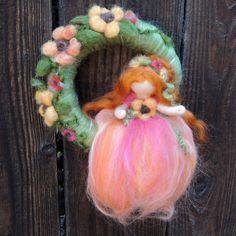 Sunflowr Felt fairy Fairy Wreath with Sunflower Fairy by Nushkie