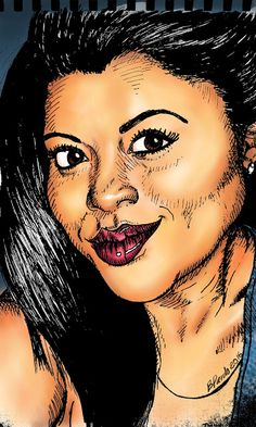 Drawing with Faber Castel pens. Drawing Facebook people. My friend Pau. Dibujando con plumones Faber Castell. Dibujando gente de facebook. Mi amiga Pau.