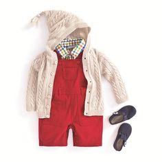 JoJo Maman Bebe Twill Short Baby Dungarees in red, check shirt, cream cardie. #kidsfashion # childrensfashion