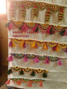 Saree Tassels Designs, Saree Kuchu Designs, Maggam Work Designs, Leila, Saree Border, Hand Embroidery Designs, Blouse Patterns, Crochet Designs, Saree Dress