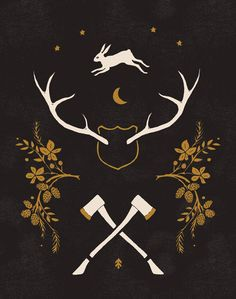Antlers and Axes, 11x14 print. $20 by Sibling @Alisa Bobzien