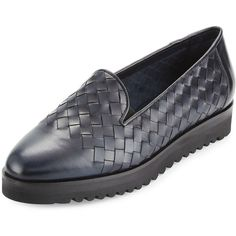Sesto Meucci Naia Woven Leather Loafer (430 PLN) ❤ liked on Polyvore featuring shoes, loafers, navy stain calf, navy blue leather flats, navy blue flat shoes, flat shoes, navy leather flats and navy loafers