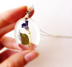 IFgal charm pendant necklace real tiny wild flower unique by IFgal, $20.00