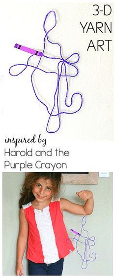 Yarn Art Inspired by Harold and the Purple Crayon Yarn Art for Kids inspired by the children's book, Harold … Kindergarten Art Lessons, Art Lessons Elementary, Preschool Kindergarten, Preschool Ideas, Preschool Learning, Art Fil, Purple Crayon, 3d Art, Creative Activities For Kids