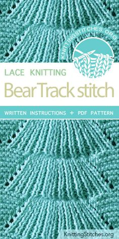 Bear Track Stitch Pattern is found in the Eyelet and Lace Stitches category. FREE written instructions, PDF knitting pattern. #knittingstitches #knitting #laceknitting