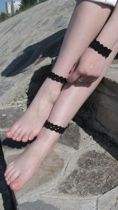 Black Crochet Barefoot Sandals, Nude shoes, Foot jewelry, Wedding, Victorian Lace, Anklet , Beach Pool  $9.00 USD
