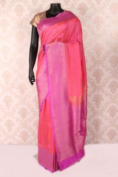 Blush #pink pure #banarasi silk trendy #saree with mauve & antique #gold border -SR12075