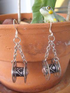 Recycled Sewing Machine Bobbin Earrings,