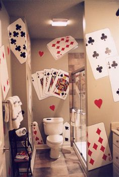 Giant playing cards bathroom