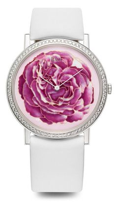 Piaget Altiplano watch, case in 18K white gold with bezel set with 78 brilliant-cut diamonds (0.7 ct). Dial in cloisonné enamel. Piaget 430P hand-wound mechanical movement. A limited series of 8 timepieces. Via the Jewellery Editor. #PiagetRose