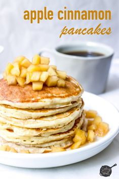 These easy apple pancakes are the perfect cozy weekend breakfast. Stuffed with frsh apples and served with a warm apple cinnamon topping Apple Desserts, Apple Recipes, Fall Recipes, My Recipes, Baking Recipes, Favorite Recipes, Brunch Recipes, Breakfast Recipes, Apple Pancake Recipe