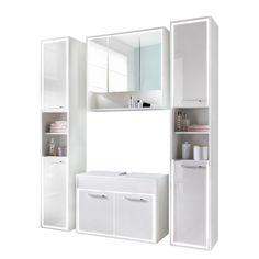 Badezimmerset Padang (4-teilig) - Hochglanz Weiß Padang, Bathroom Medicine Cabinet, Modern, Storage, Closet, Furniture, Design, Home Decor, Glass Display Case