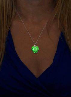 Small Green Heart Glow in The Dark Necklace  Glowing by EpicGlows