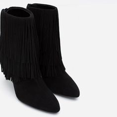Image 6 of FRINGED LEATHER ANKLE BOOTS from Zara