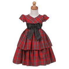 -Lito Girls Red Plaid Layered Christmas Dress Little Girls 10