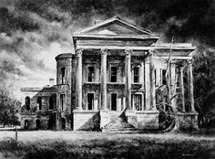 Belle Grove Plantation, circa 1858.  John Andrews built the house later sold it to the Ware Family in 1867.  Abandonded in 1925 and burned in April of 1952.