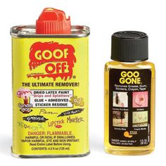 Remove stickers, tar, gum, dried paint drops, grease and a host of other unwanted substances quickly and without a lot of frustrating scrubbing by using a general-purpose cleaning solvent. They have a strong odor, but they make short work of nasty, gummy messes like price tag adhesive residue.