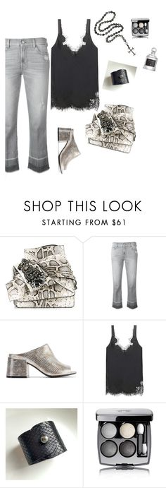 """""""Phyton chic"""" by olivia-stones ❤ liked on Polyvore featuring N°21, 7 For All Mankind, MM6 Maison Margiela, Helmut Lang, Chanel, Serge Lutens, finepearls and autentico"""