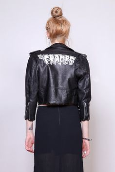 80s Black Leather Tiny Fit Leather Moto Jacket with THE CRAMPS Handpainted Logo