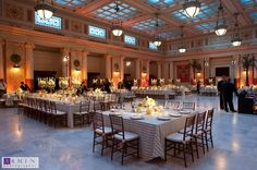 Union Station DC Wedding  Imagine the recessed spaces as tall windows.   Beautiful lights, beautifully large, proportioned space, beautiful table cloths....