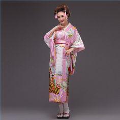Hot New Pink Japanese Women Silk Kimono Sexy Yukata With Obi Vintage Party  Prom Dress Cosplay Halloween 7824a58460fe