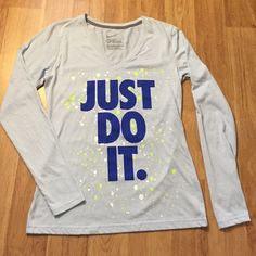 NIKE JUST DO IT slim fit long sleeve shirt✨ NIKE JUST DO IT slim fit long sleeve shirt✨ perfect condition, never worn slim fit! Color is a beautiful light blue Nike Tops Tees - Long Sleeve