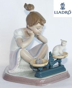 "Lladro Figurine Retired ""How You've Grown"" 5474 Girl w Kitten with Signature 
