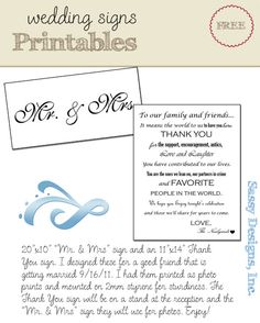 FREEBIE printables for weddings - from Sassy Designs, Inc. :) #sassydesigns