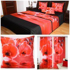 Czerwone komplety dekoracyjne do sypialni w kwiaty