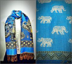 Nepal Hand Made Pashmina Shawl Scarf Blue | Sure Design