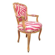 $699 Image of Pink Zebra Print Louis Chair