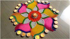 Beautiful Rangoli for Diwali/Deepawali/lakshmi pada FESTIVAL'S rangoli designs Rangoli Designs Latest, Simple Rangoli Designs Images, Rangoli Designs Flower, Rangoli Patterns, Rangoli Kolam Designs, Rangoli Ideas, Rangoli Designs With Dots, Beautiful Rangoli Designs, Kolam Rangoli