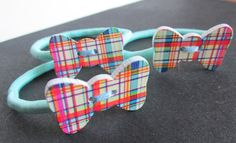 Plaid print pony tail holder Wooden Bow Bobbins by Buttonnuthin