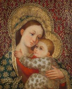 Featured pieces from Diana Mendoza, Sorelle Gallery, Albany, NY - guilding Religious Icons, Religious Art, Mama Mary, Queen Of Heaven, Sainte Marie, Spiritual Symbols, Mary And Jesus, Holy Mary, Madonna And Child