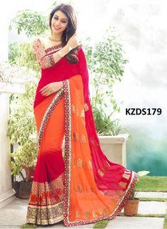 Buy Georgette Red & Orange Designer Saree