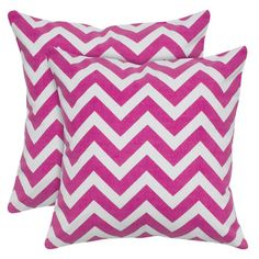 Cotton pillow with a hot pink chevron motif. Pinned by Product: PillowConstruction Material: Cotton cover and polyester fillColor: Hot pinkFeatures: Insert includedHidden zipper closurePrinted details Dimensions: x and Care: Dry clean only Chevron Throw Pillows, Accent Pillows, Small Pillows, Decorative Pillows, Pillow Set, Pillow Covers, Pillow Talk, Pink White, Hot Pink