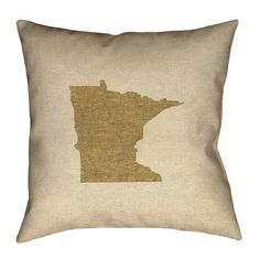 "Ivy Bronx Austrinus Minnesota Cotton Pillow Cover Size: 20"" x 20"", Fill Material: Poly Twill, Color: Dark Brown"