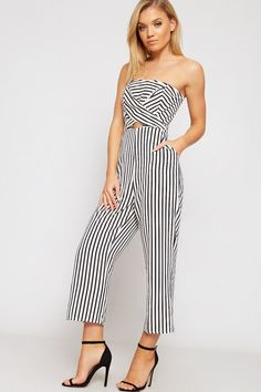 dc82aaf4f6 Ariana Striped Wrapover Bandeau Jumpsuit